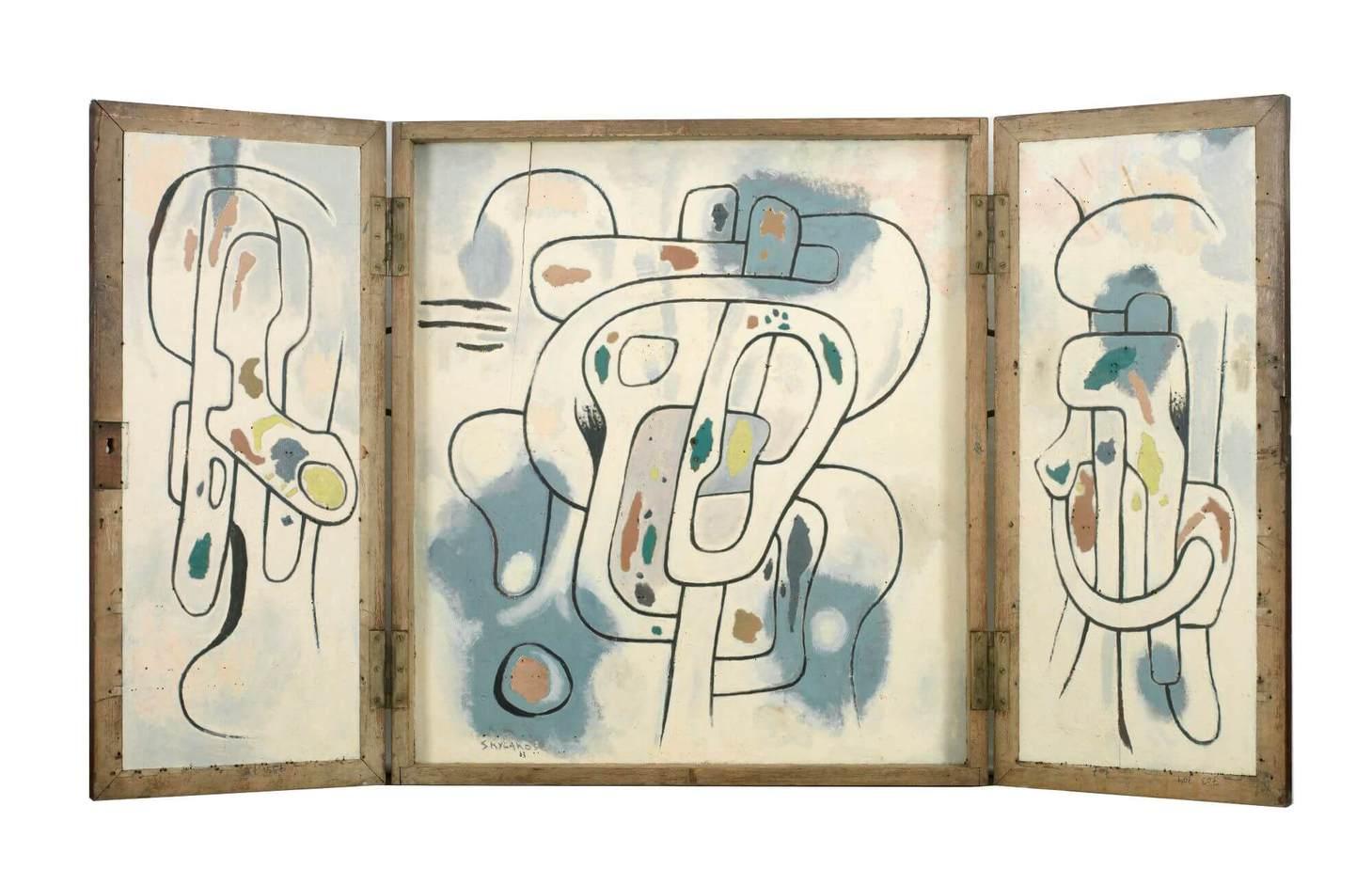 Βασίλης Σκυλάκος (1930-2000) «Χωρίς τίτλο» τρίπτυχο Α', 1963 λάδι σε ξύλο, ανοιχτό: 80 x 150 εκ.
