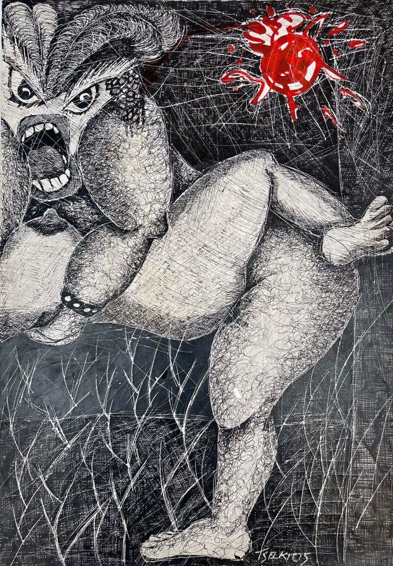 Γιώργος Τσακίρης Άτιτλο, 1973 Μεικτή τεχνική σε χαρτί 50 x 35 εκ.