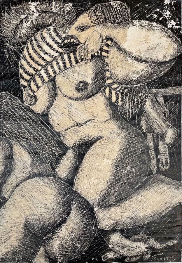 Γιώργος Τσακίρης 1979 Μεικτή τεχνική σε χαρτί 60 x 41.5 εκ.
