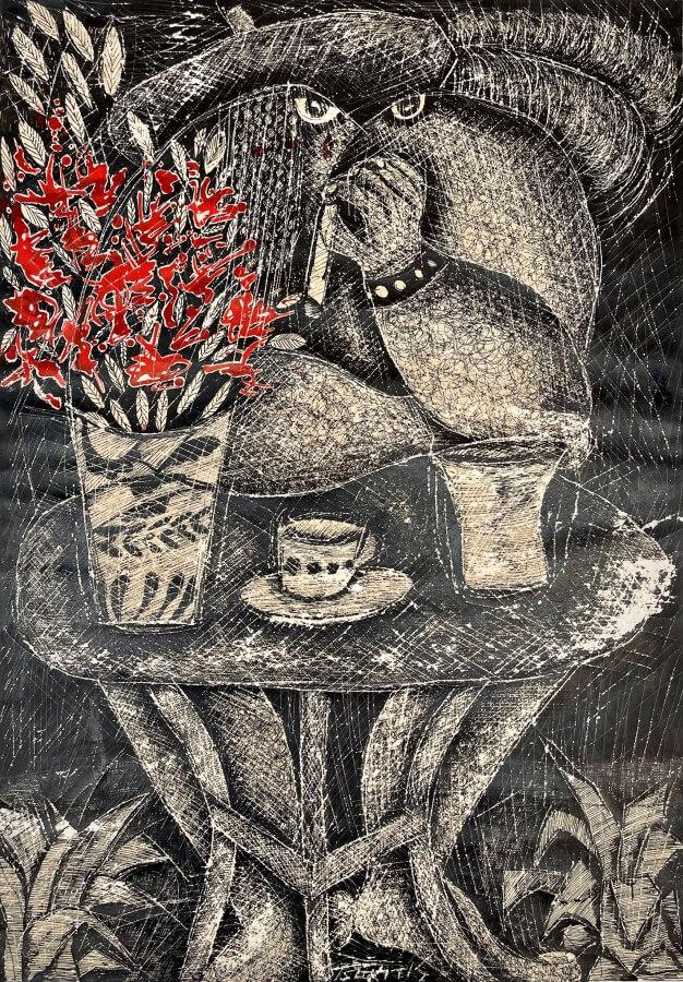 Γιώργος Τσακίρης 1973 Μεικτή τεχνική σε χαρτί 60 x 41.5 εκ.