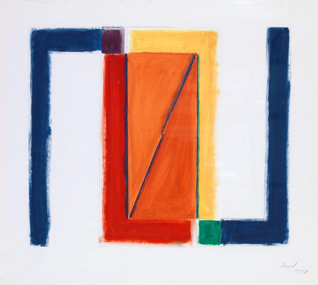 Δανιήλ Παναγόπουλος, Χωρίς τίτλο, 1972, Κολάζ, λάδι σε χαρτί, 48.5 x 54 εκ.