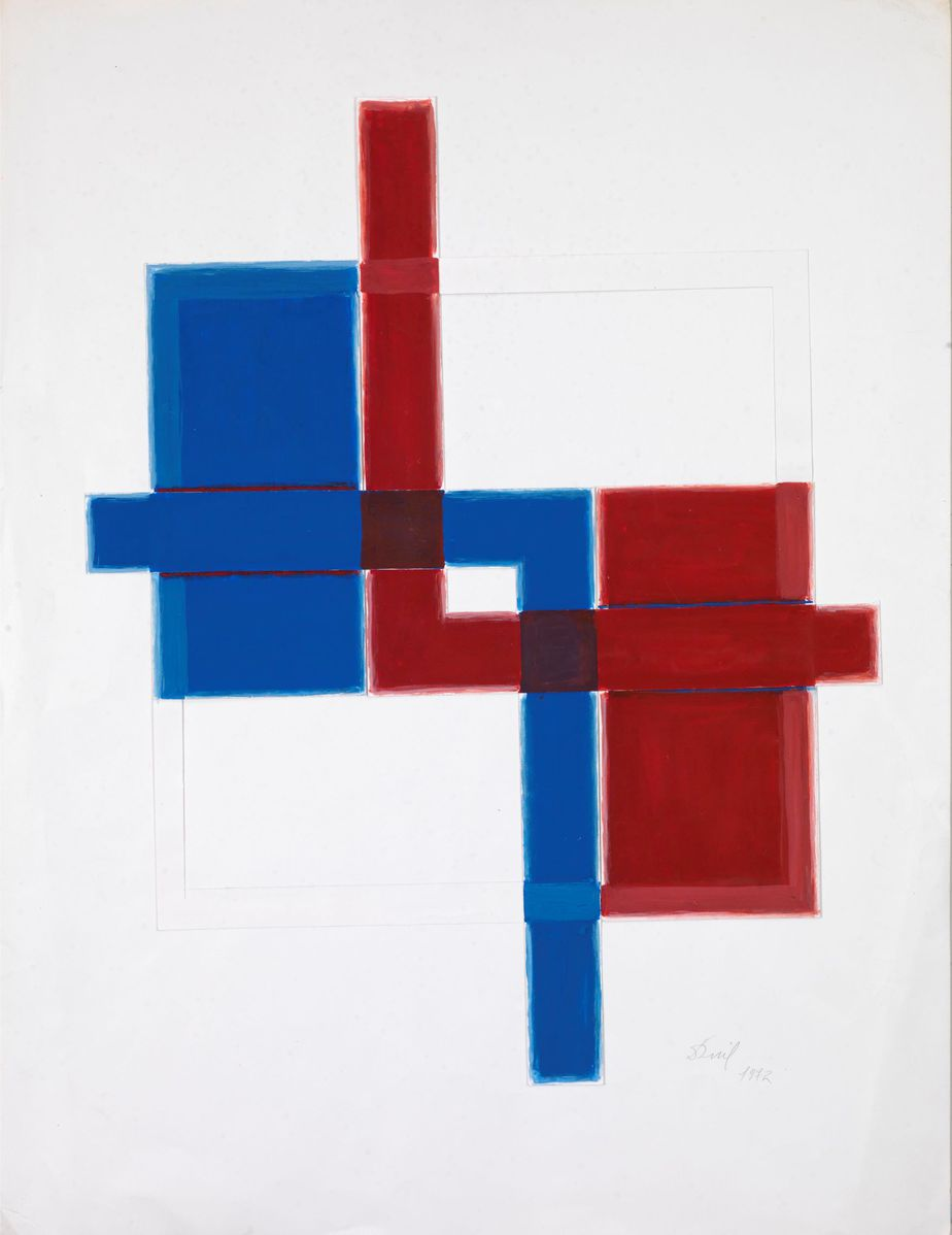 Δανιήλ Παναγόπουλος, Χωρίς τίτλο, 1972, Κολάζ, λάδι σε χαρτί, 65 x 50 εκ.