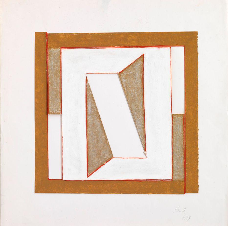 Δανιήλ Παναγόπουλος, Χωρίς τίτλο, 1973, Κολάζ, λάδι σε χαρτί, 50 x 50 εκ.