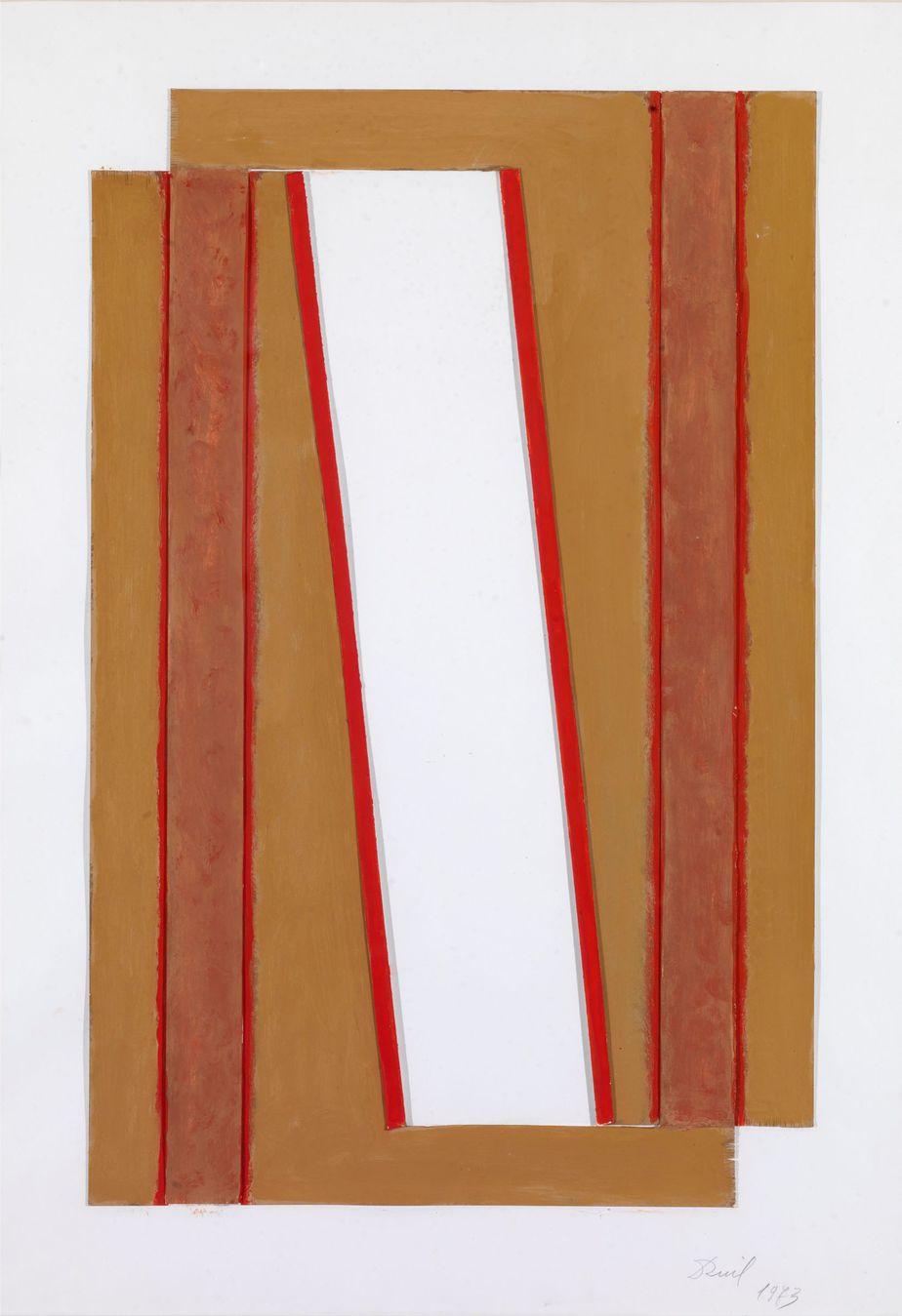 Δανιήλ Παναγόπουλος, Χωρίς τίτλο, 1973, Κολάζ, λάδι σε χαρτί, 59 x 41 εκ.