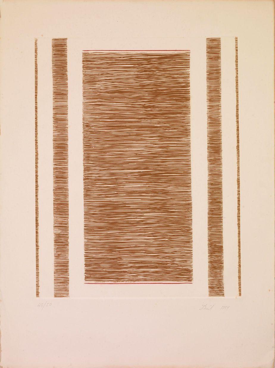 Δανιήλ Παναγόπουλος Χωρίς τίτλο, 1974, Έγχρωμη χαλκογραφία, 43_50, 50 x 39 εκ.