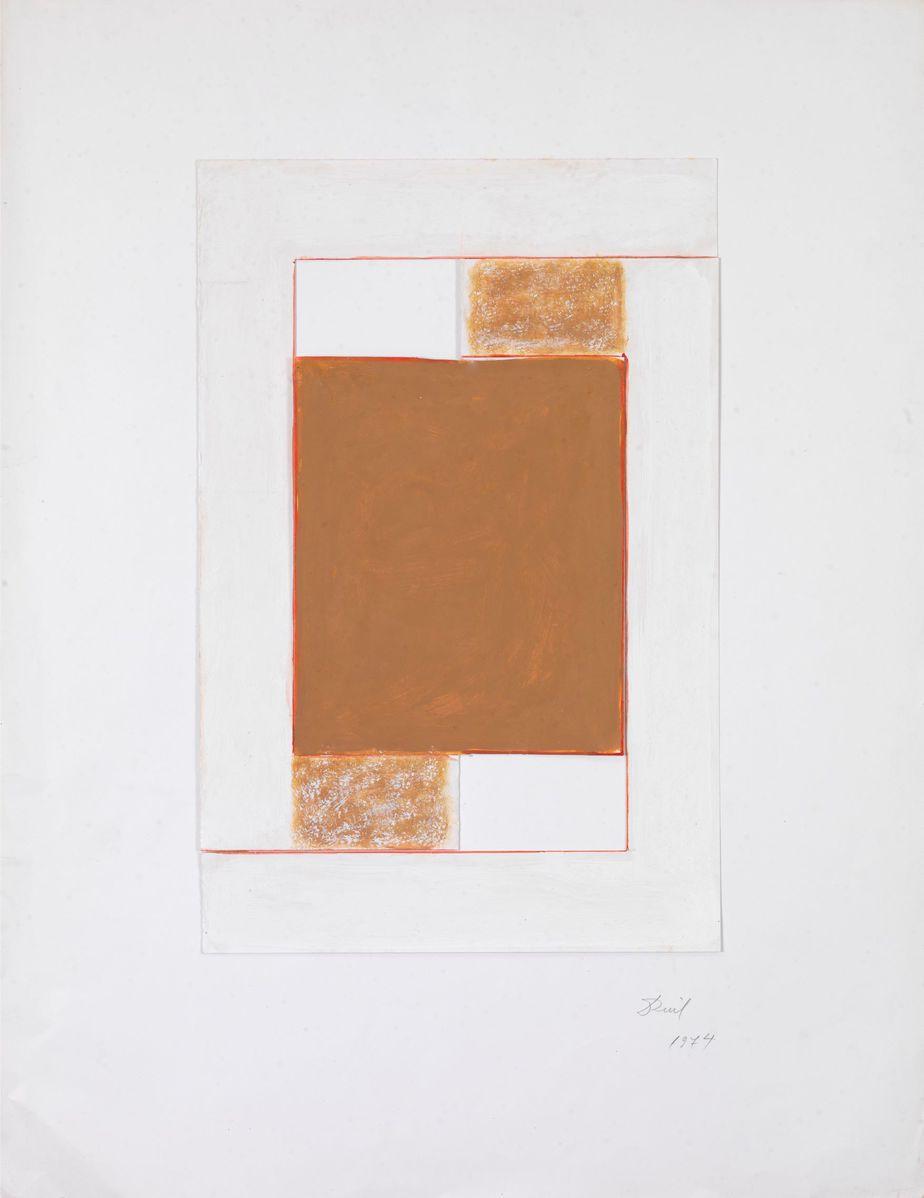 Δανιήλ Παναγόπουλος, Χωρίς τίτλο, 1974, Κολάζ, λάδι σε χαρτί, 65 x 50 εκ.