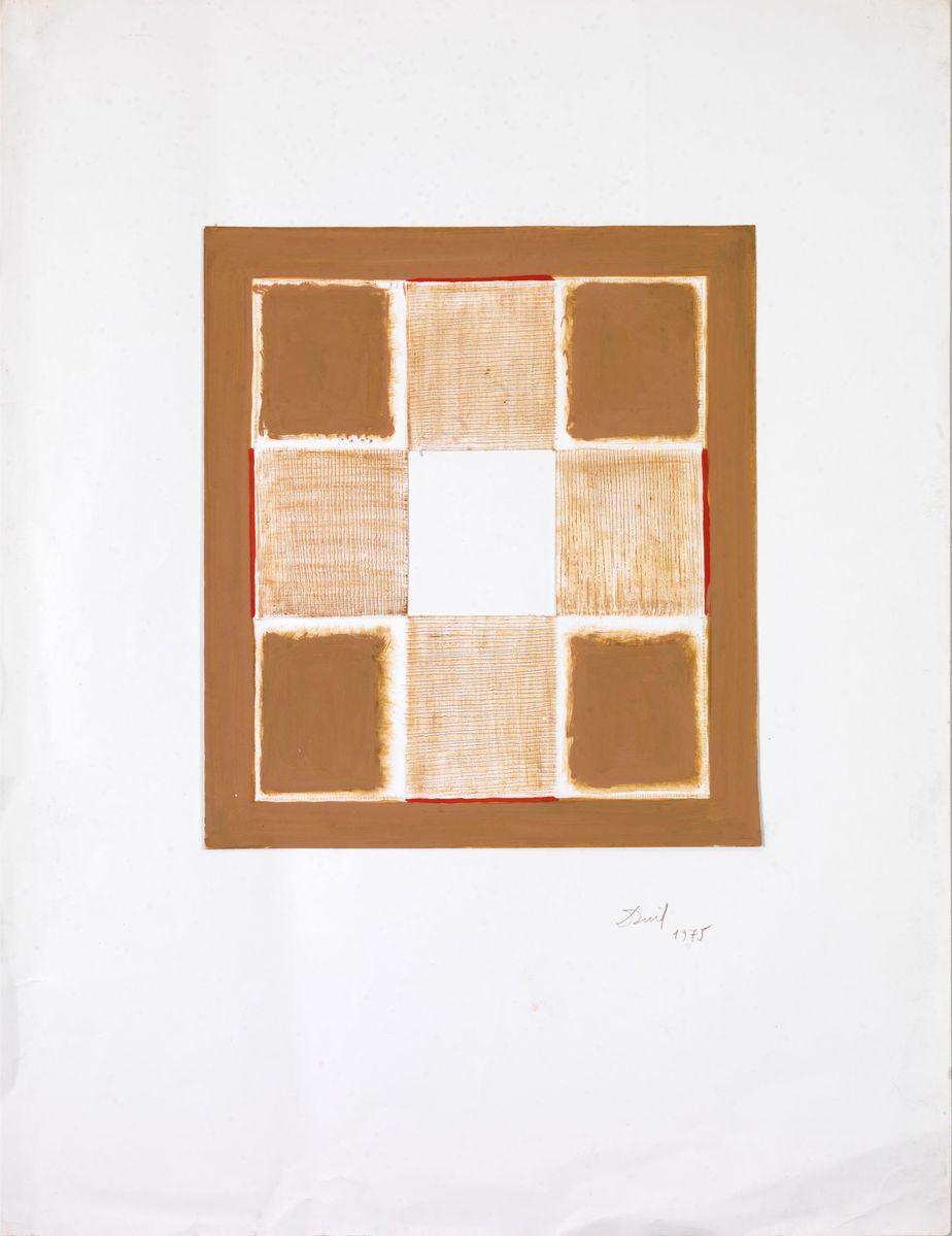 Δανιήλ Παναγόπουλος, Χωρίς τίτλο, 1975, Κολάζ, λάδι σε χαρτί, 65 x 50 εκ. (1)