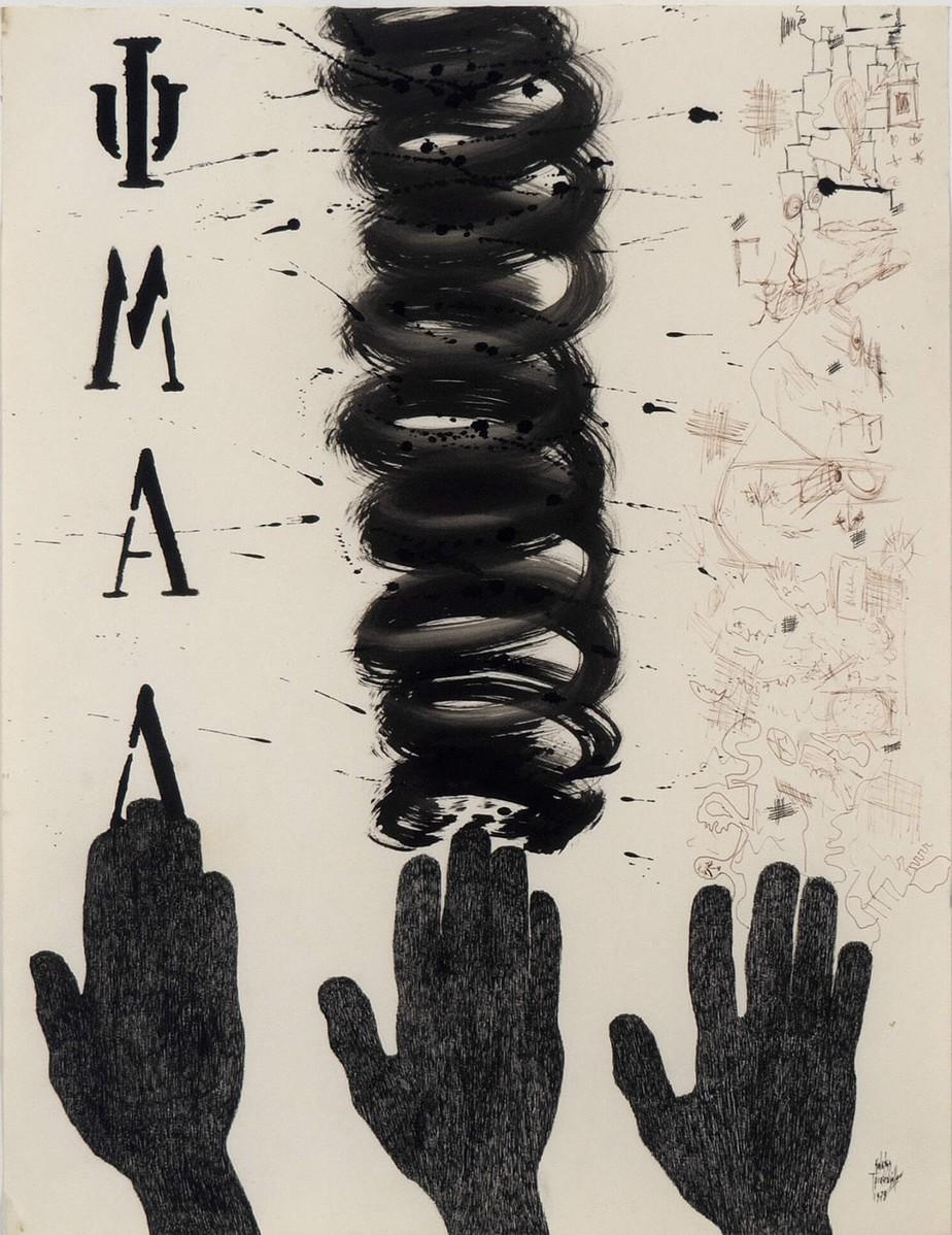 "Costis (b.1950) ""ΨΜΑΛ"" Ink on paper, 1978 65 x 50 cm"