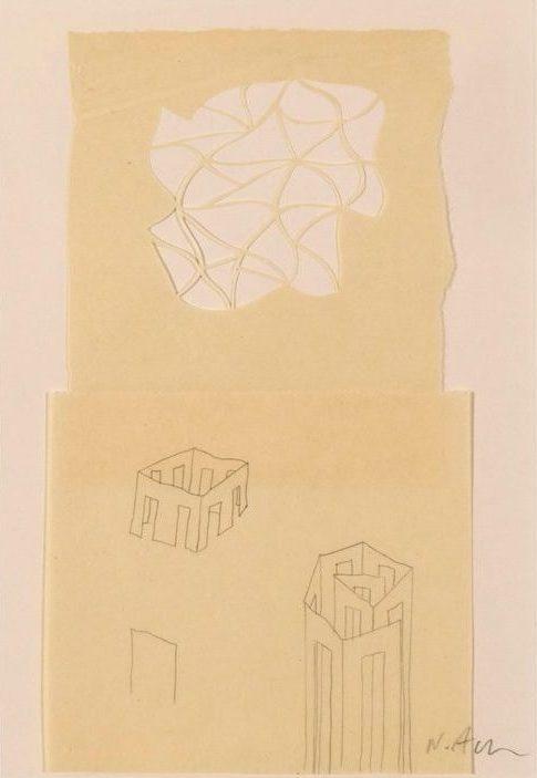 Νίκος Αλεξίου Drawing, pencil, collage on paper 29.6 x 21 cm
