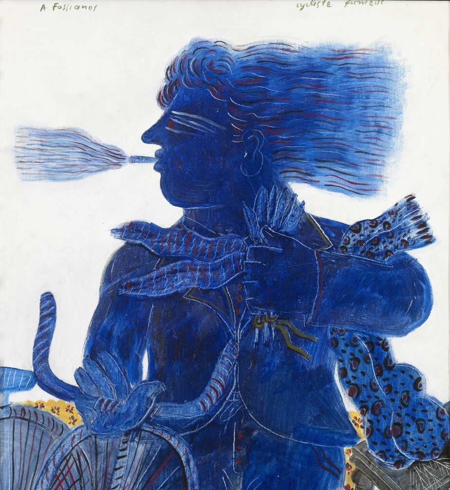 ALEKOS FASSIANOS «Cyclist fumeur» Oil on canvas 1980 64 x 49.5 cm Roma Gallery exhibition: ALEKOS FASSIANOS-DIMITRIS MYTARAS