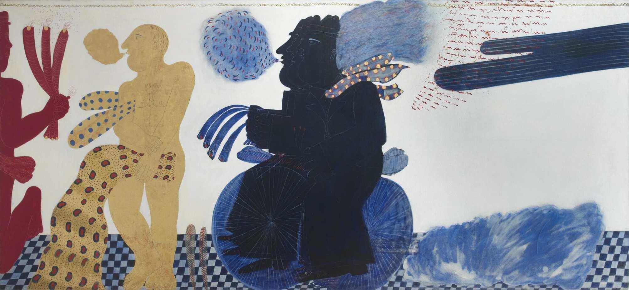 """ΑΛΕΚΟΣ ΦΑΣΙΑΝΟΣ """"Μικρή αναχρονιστική σουίτα ή η ζωή του αναστάσιου σε 24 ώρες"""" Λάδι σε καμβά με φύλλο χρυσού 160 x 350 cm, 1970 Roma Gallery"""