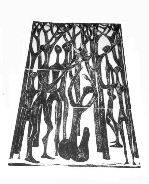 Βάσω Κατράκη (1914-1988) «Δάσος» Χάραξη σε πέτρα, 1979 160 x 107 εκ.