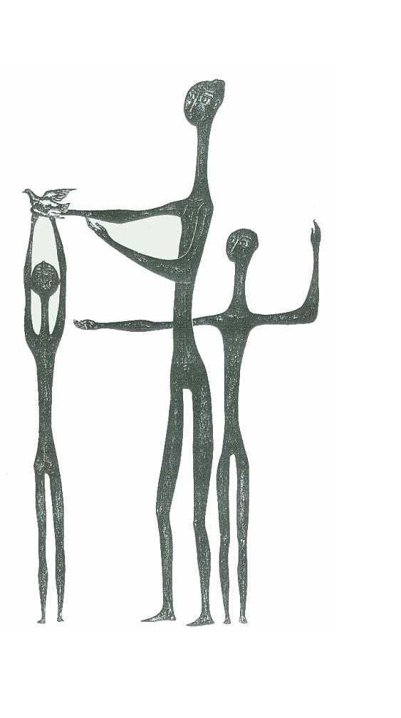Βάσω Κατράκη (1914-1988) «Ειρηνικό ΙΙ» Χάραξη σε πέτρα, 1979 150 x 76 εκ.