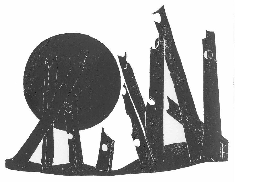 Βάσω Κατράκη (1914-1988) «Ήλιος και Σίδερα» Χάραξη σε πέτρα, 1979 107 x 76 εκ.