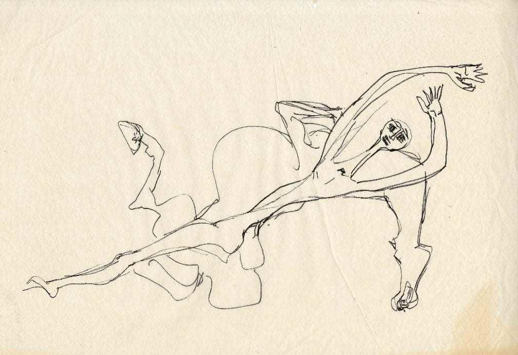 Βάσω Κατράκη (1914-1988) «Πτώση του Καραϊσκάκη» Σχέδιο, μελάνι σε χαρτί, 1966 35.5 x 50 εκ.