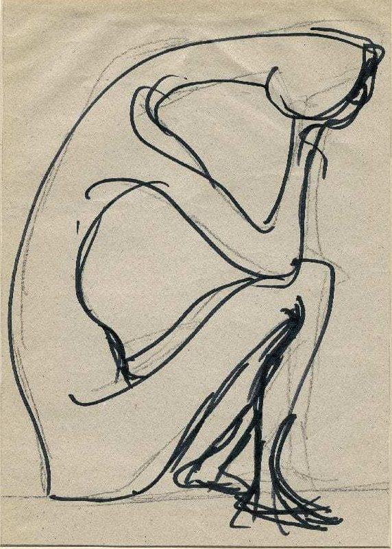 Βάσω Κατράκη (1914-1988) «Μοναξιά» Σχέδιο, μολύβι και μελάνι σε χαρτί, 1980 27.5 x 19.5 εκ.