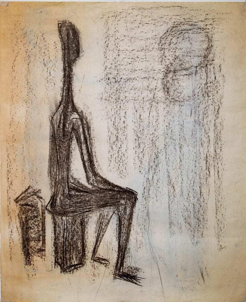 Βάσω Κατράκη (1914-1988) «Επίσκεψη I», 1979 όψη 1: κάρβουνο και μολύβι σε χαρτί 78.9 x 65.5 εκ., 1979 όψη 2: κάρβουνο, μολύβι και παστέλ σε χαρτί 78.9 x 65.5 εκ.