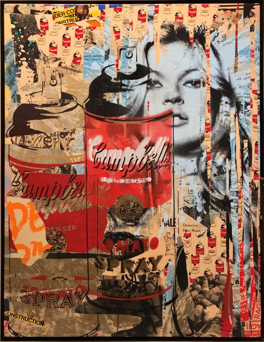 "Mr. Brainwash ""Tomato Spray"" Mixed media on canvas, 2011 135 x 101.5 cm"