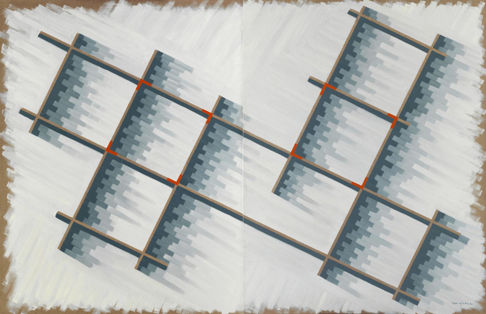 Γιάννης Μίχας (1938 – 2008) Σύνθεση x254 Ι+ΙΙ, 1990 Λάδι σε καμβά 170 x 260 εκ.