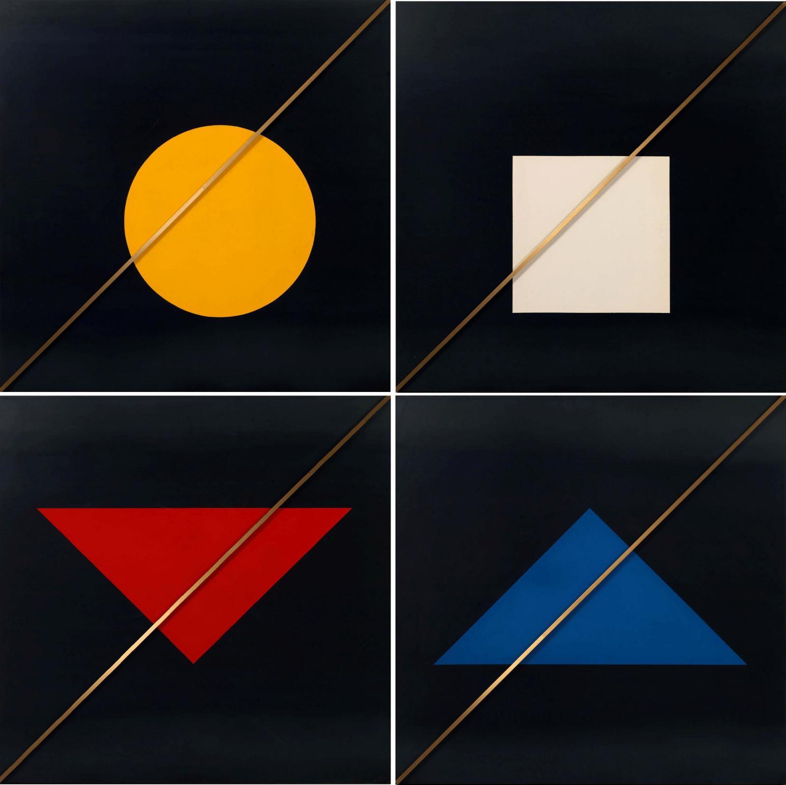 Γιάννης Μίχας (1938-2008) Λ+Χ+Μ (301, 302, 303, 304),1999 Μαύρη λαμαρίνα, χρώμα και μπρούτζος 226 x 226 εκ. (113 x 113 εκ.)