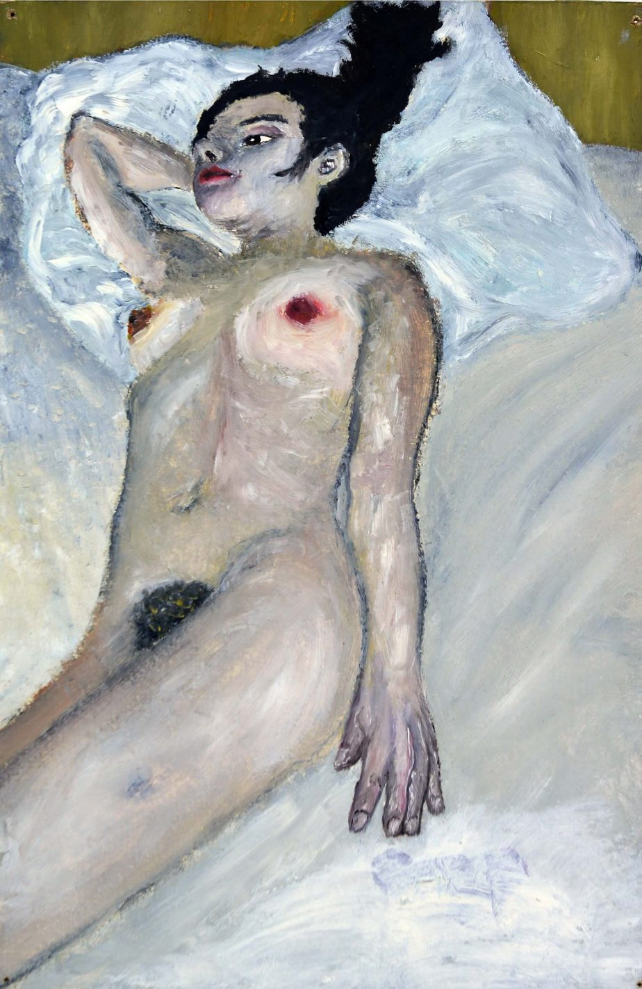 Grit Hachmeister (b. 1979) Heike on bed, 2006 Painting on wood 20 x 38 cm