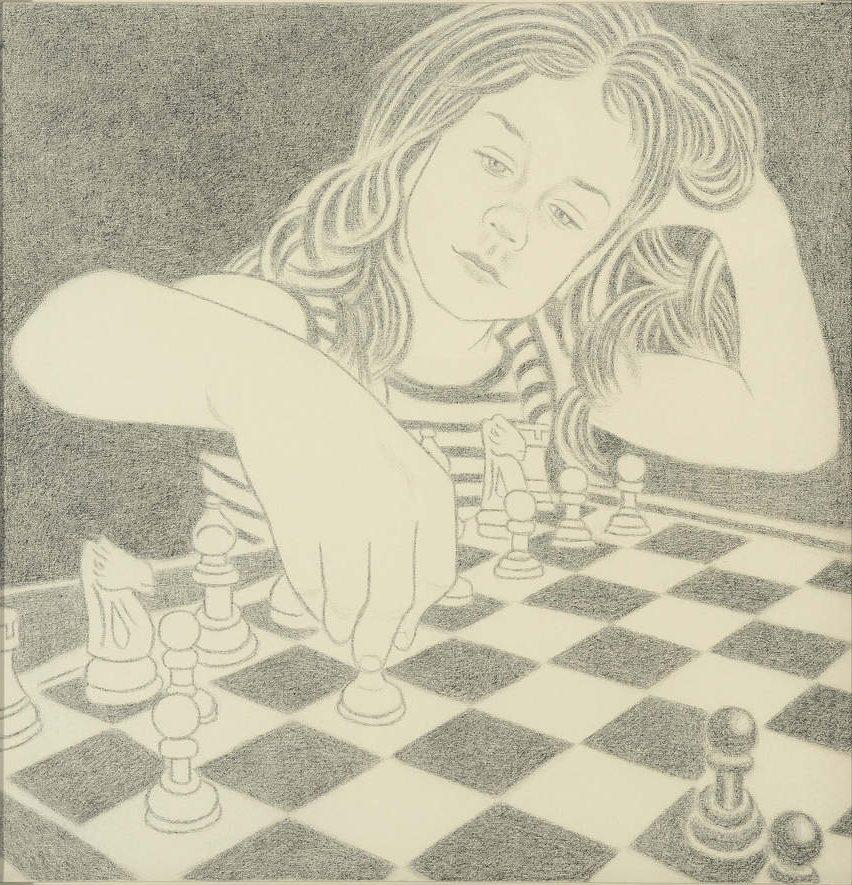 Amy Adler The Lesson No 2, 2007 Pastel on canvas 90 x 90 cm unframed - 97 x 97 cm framed