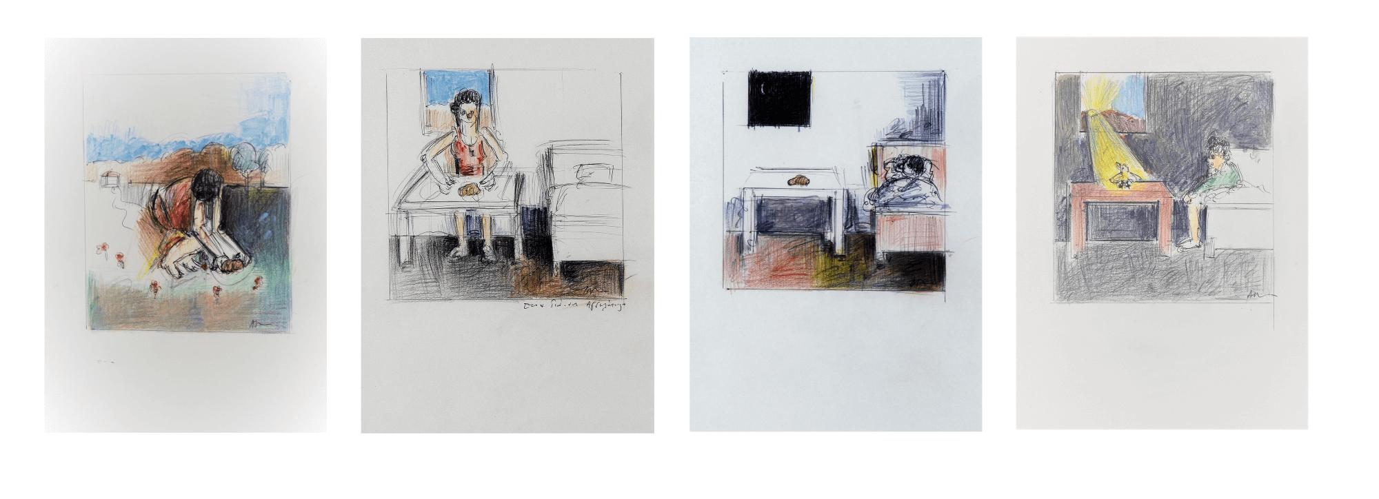 "Apostolos Georgiou (b.1952) ""One story"", Circa 2000 Drawings, colored pencils and ink on paper (A) 17 x 14 cm (B) 16 x 16 cm (C) 15 x 15 cm (D) 16 x 15 cm"