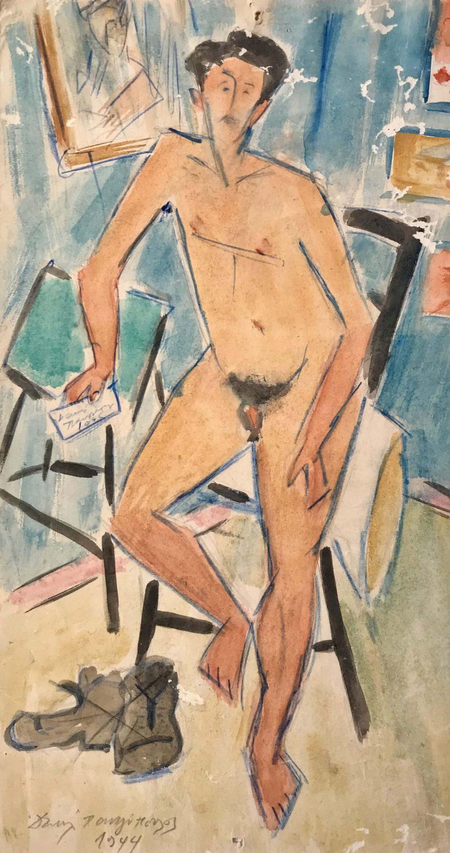 Danil (Panagopoulos) (1924-2008) Watercolor on paper, 1944 32.5 x 18 cm