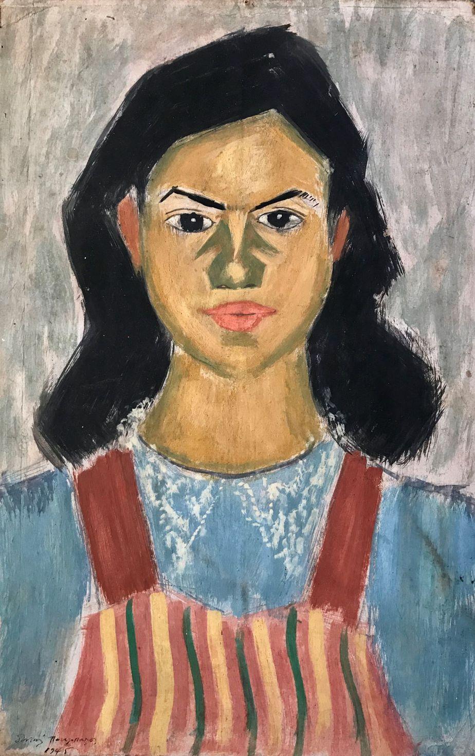 Danil (Panagopoulos) (1924-2008) Oil on paper, 1945 48 x 31 cm