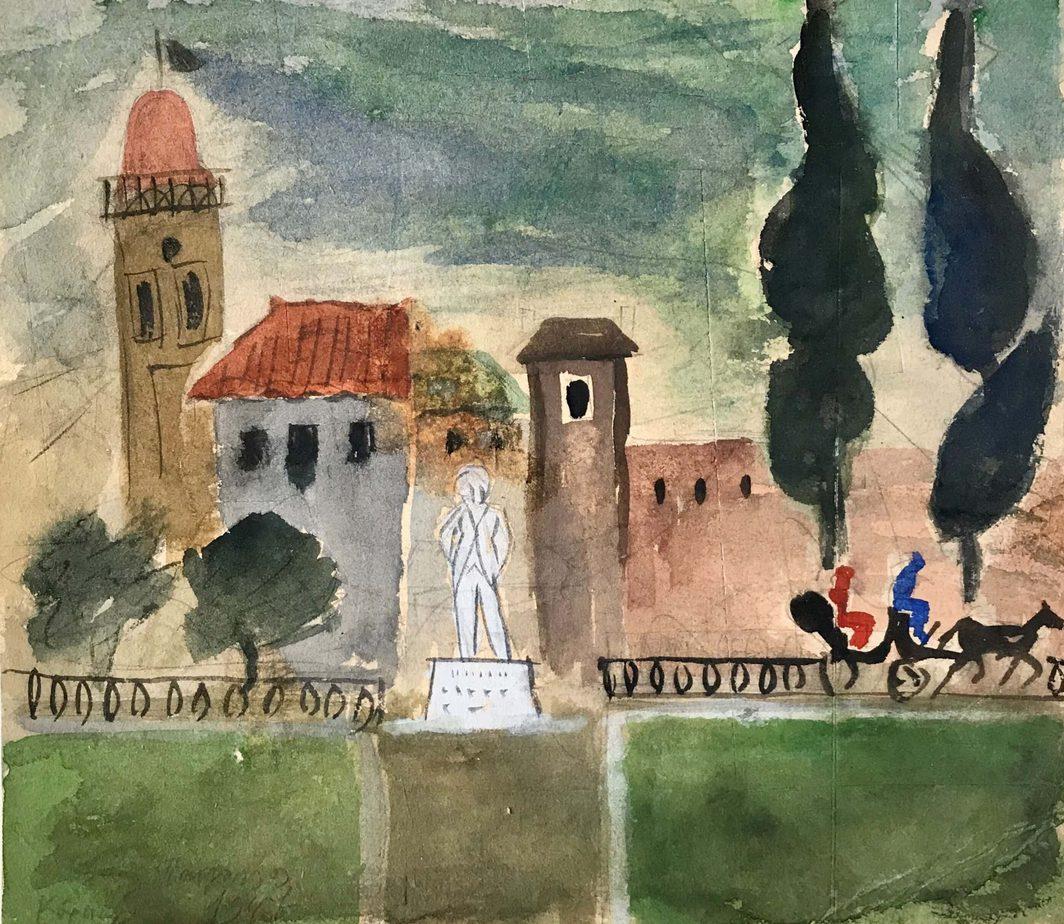 Danil (Panagopoulos) (1924-2008) Watercolor on paper, 1947 22.5 x 25.5 cm