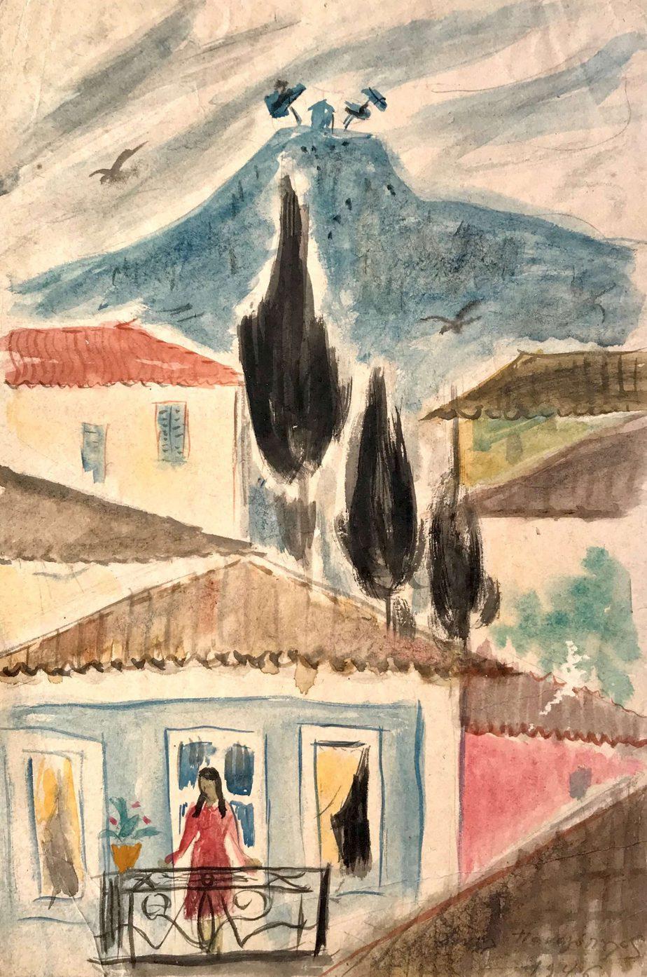 Danil (Panagopoulos) (1924-2008) Watercolor on paper, 1946 34 x 23 cm
