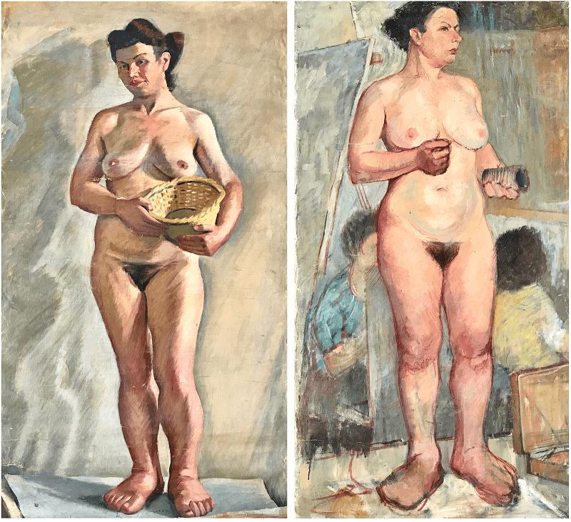 Danil Panagopoulos Oil on canvas (bilateral artwork), 1950 130 x 72 cm (each)