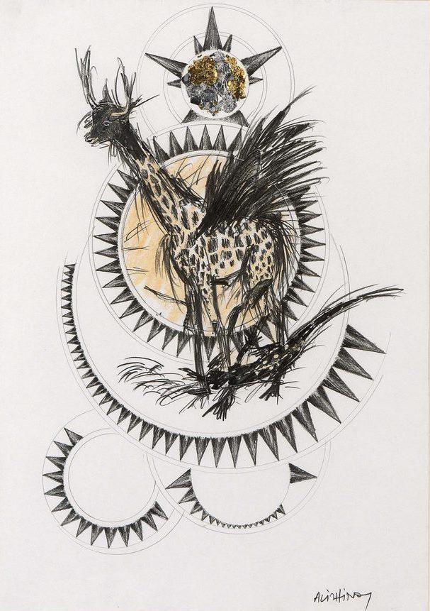 "Dimitris Alithinos (b. 1945) ""Magic drawing"" Mixed media on paper, Circa 1990 58 x 42 cm"