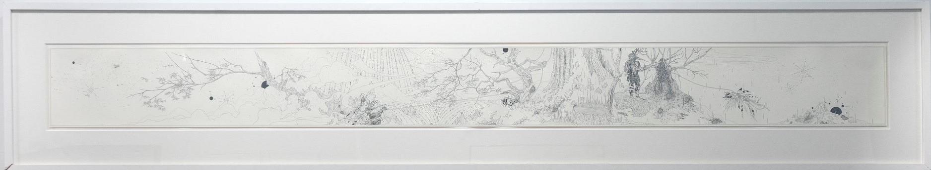 Ernesto Caivano Union and offerings (Corpus Callosum, Masculinus, Femininus), 2004 Ink on paper 30 x 225 cm