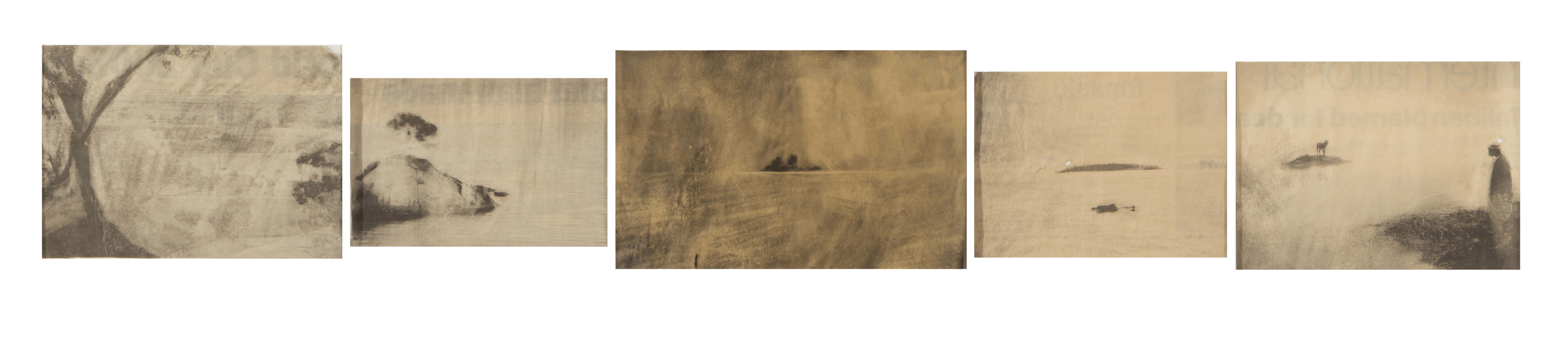 Matt Bryans Untitled (seascape with islands), 2003 Rubbed out newspaper cuttings set of 5 works on paper