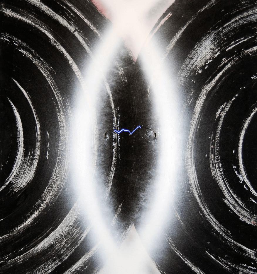 "R.Francken - C o s t i s ""Incandescence et foudre"" R.Francken: Acrylic on paper 1987. C o s t i s: Air, electronic lightning on wooden construction 1994. 120,5 x 80,5 x 22,5 cm"