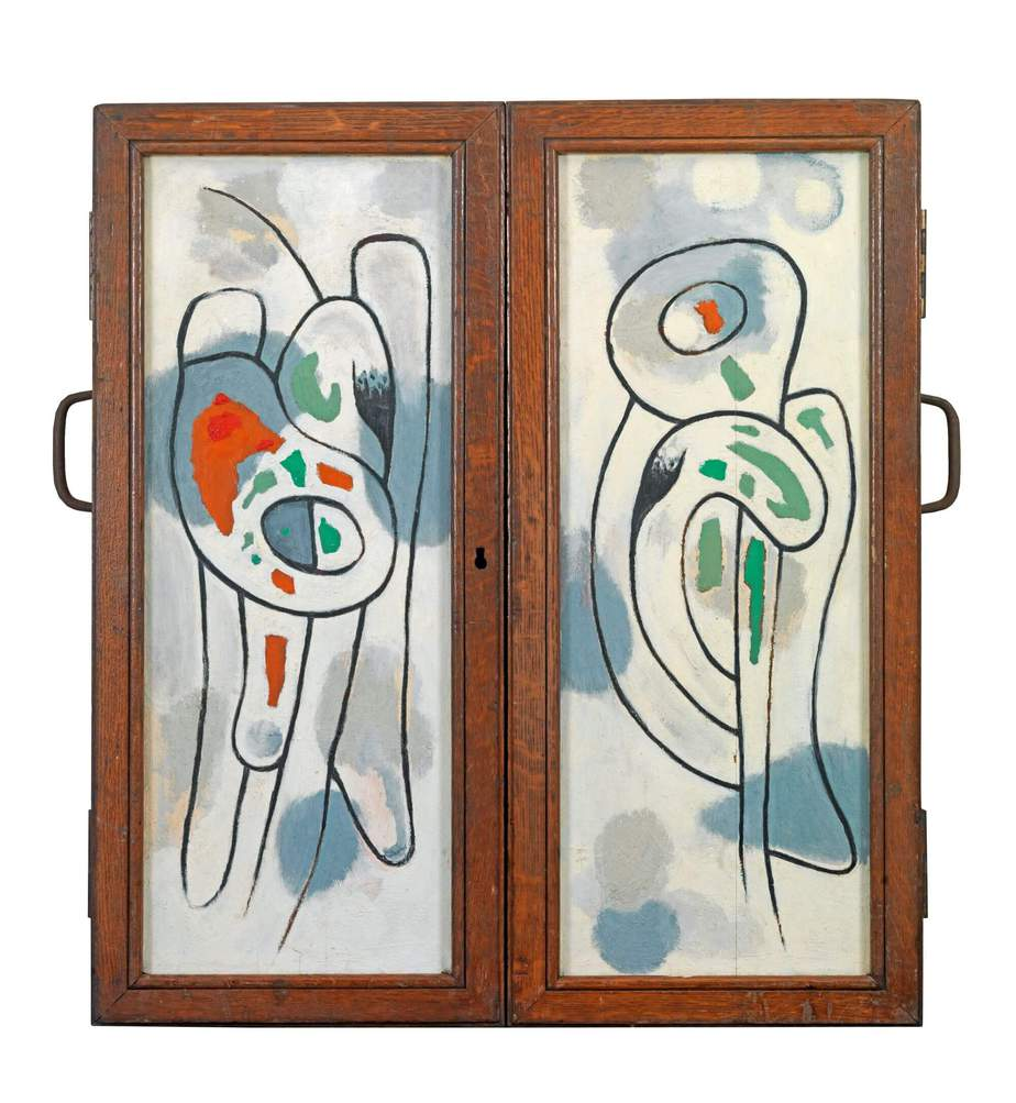 Βασίλης Σκυλάκος (1930-2000) «Χωρίς τίτλο» τρίπτυχο Α', 1963 λάδι σε ξύλο, κλειστό: 80 x 75 εκ.